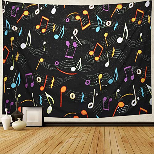 Ameyahud Music Tapestry Psychedelic Bohemian Ethnic Musical Wall Tapestry Colorful Jumping Musical Notes Wall Hanging Black Music Decor Tapestry (W78.7 × H59.1) ()