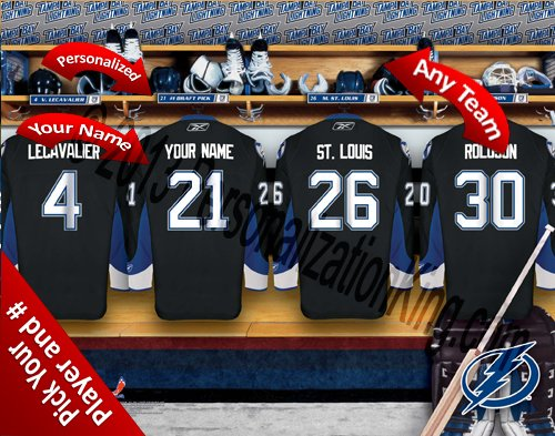 (Tampa Bay Lightning Team Locker Room Clubhouse Personlized Officially Licensed NHL Photo Print)