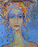 Women artwork Female figure Head Face Impasto Textured ON CANVAS 15x18 Woman painting Original hand painted oil Living Room Fine art work Abstract figurative