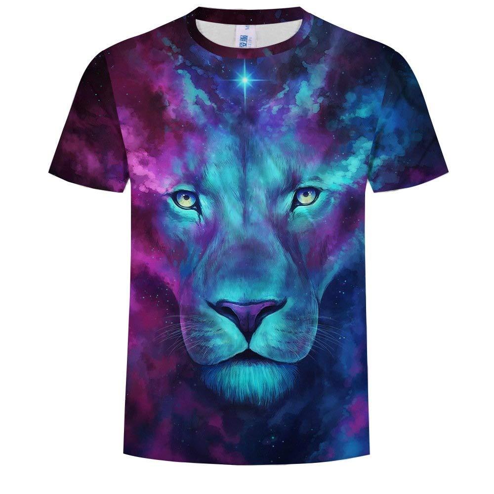 NANWUGAO 3D T-Shirt Short Sleeve T-Shirt Novelty Lion Animal Crewneck Graphic Casual Printed Tee Tops Short Sleeve Tees