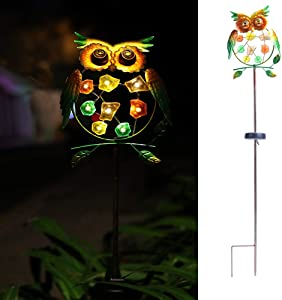 "WSgift Metal Owl Garden Solar Lights, Solar Powered Garden Stake Lights - Metal OWL Colorful LED Decorative Garden Lights for Walkway,Pathway,Yard,Lawn 8.3""(L) x 1.5""(W) x 38""(H)."