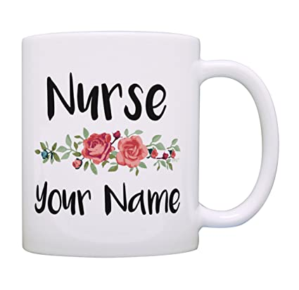 Personalized Nurse Gifts Your Name Floral Nursing Graduation Gifts For Nurses Personalized Gift Coffee Mug Tea Cup White