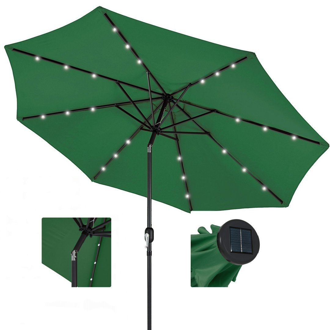 10ft Outdoor Patio Aluminium Umbrella Sunshade UV Blocking Pre-installed Solar Power LED w/Hand-Crank and Tilt System - Green #1901