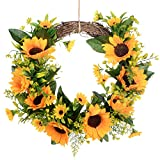 Lvydec Artificial Sunflower Summer Wreath - 13 Inch Decorative Fake Flower Wreath with Yellow Sunflower and Green Leaves for Front Door Indoor Wall Décor