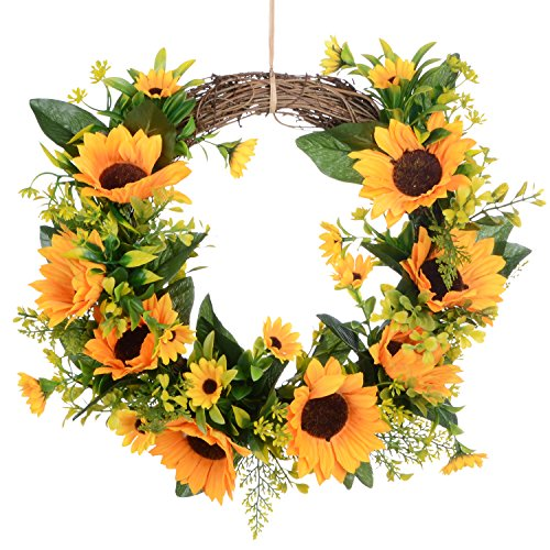 Lvydec Artificial Sunflower Summer Wreath - 13 Inch Decorative Fake Flower Wreath with Yellow Sunflower and Green Leaves for Front Door Indoor Wall Décor by Lvydec