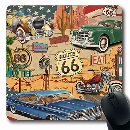 - Ahawoso Mousepads for Computers Dinner American Vintage Route 66 Sports Motorcycle Recreation Diner Arizona Map Design Travel Oblong Shape 7.9 x 9.5 Inches Non-Slip Oblong Gaming Mouse Pad