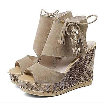 GAOLIXIA Damen Damen Echtes Leder Plateau High Heels Pumps Sommer Vintage Scrub Quaste Sandalen Fashion Open Toe...