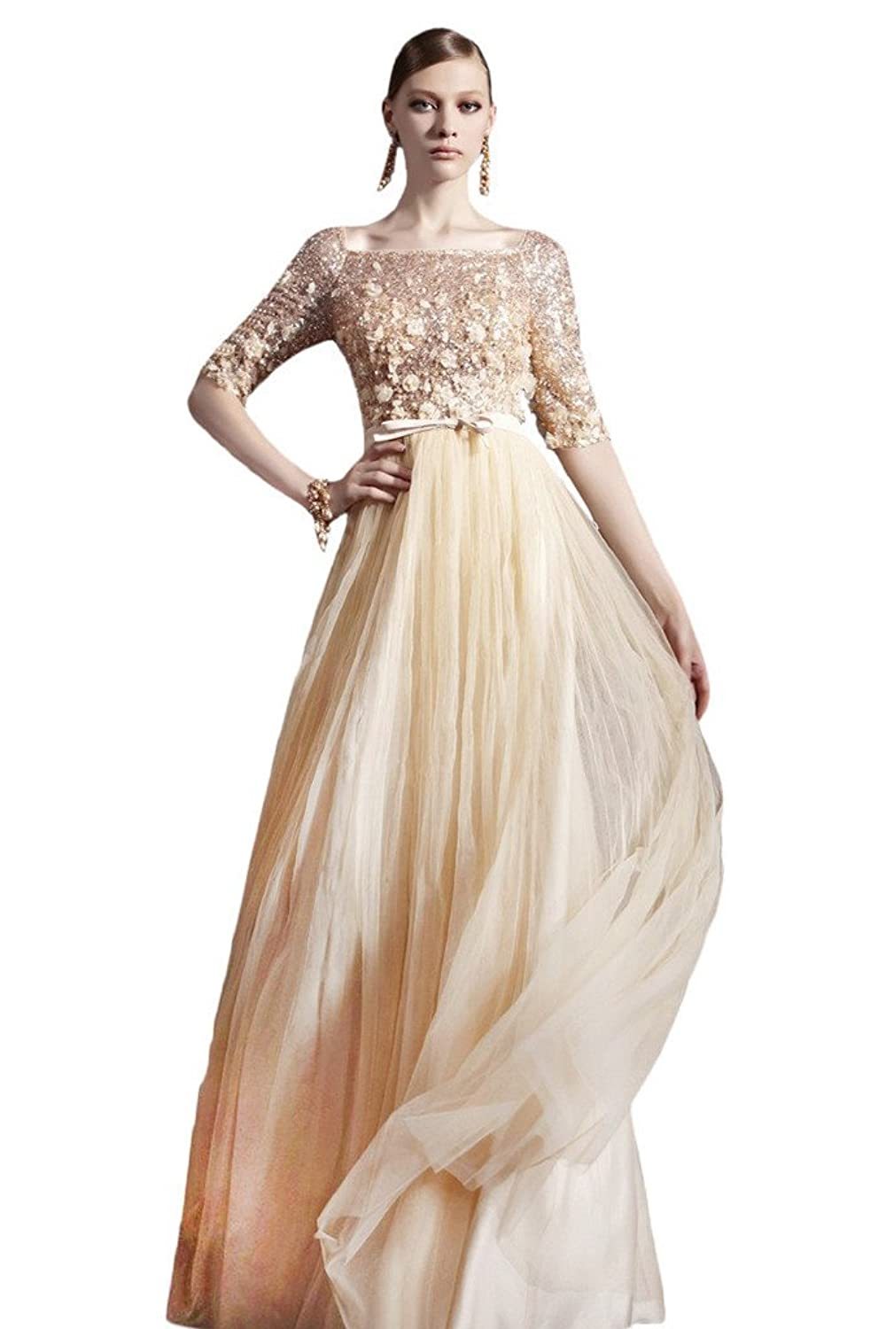 Snowskite High neck Sequins Beading Champagne Evening Party Dress