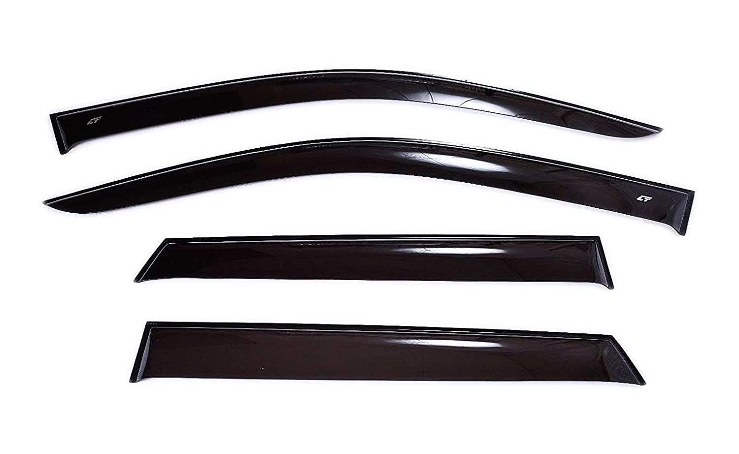 CT Wind Visor Deflectors Set of 4-Piece - Car Ventvisor Door Side -Window Air Guard Deflectors for Protection Against Snow Sun and Rain Compatible with Great Wall Deer G3/G5/Admiral - Dark Smoke