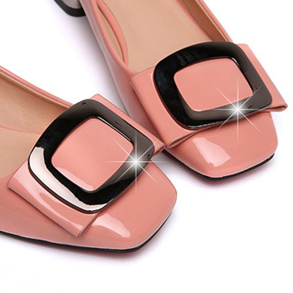 Damenschuhe Office Jobs Heel Schuhe Nude Lederschuhe Metall Elegante Lady Heel Schuhe Metall Lederschuhe Frühling und Herbst Single Schuhes Square Head Frau JIANF Rosa 72110c