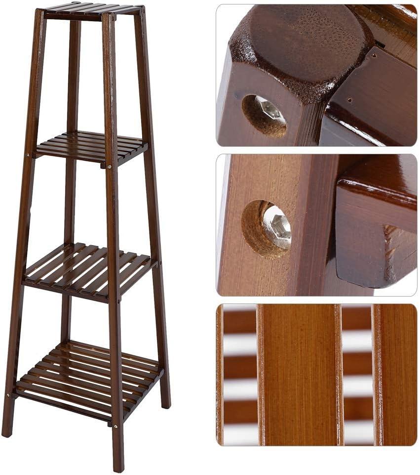 soporte de madera para decoraci/ón de interiores y exteriores 2 Tiers macetas Estante para plantas TOPINCN