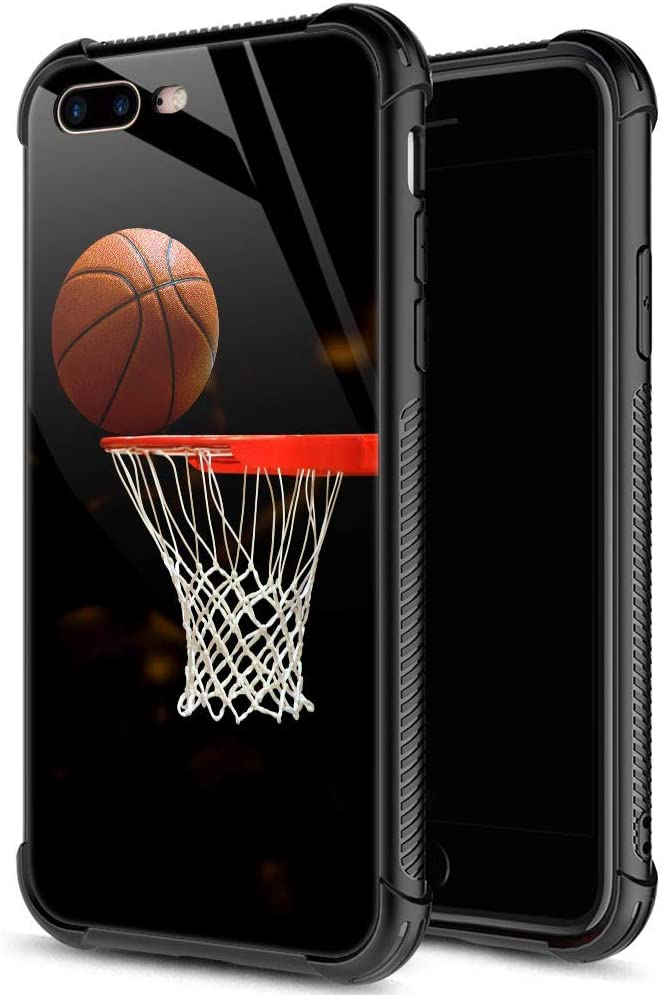 iPhone SE 2020 Case,Tempered Glass iPhone 8 Case for Men Boys,Basketball Design Printing iPhone 7 Cases Shockproof Anti-Scratch Case for Apple iPhone 7/8/SE2 4.7 inch Basketball