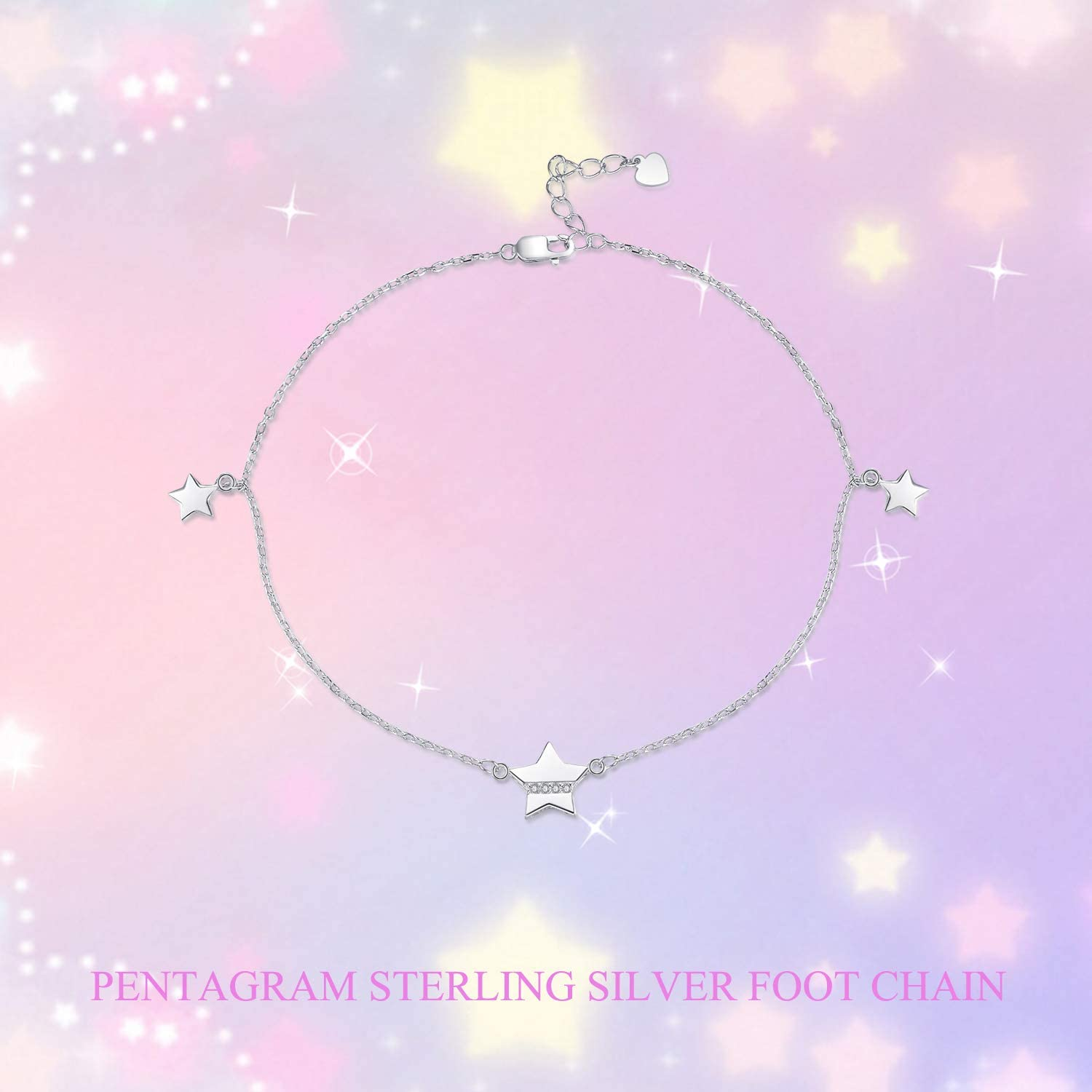POPLYKE Sterling Silver Daisy Flower Anklet and Star Anklet for Women Teens Girls
