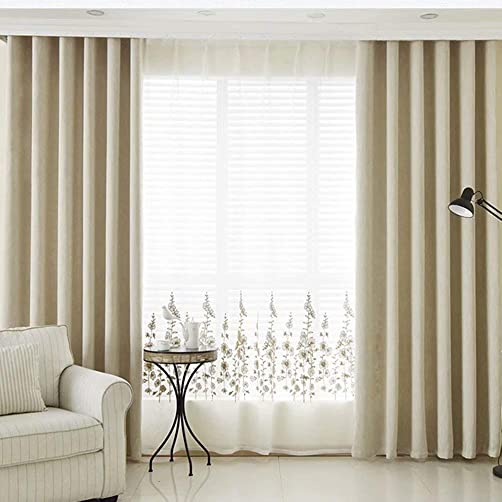 MacoHome Beige Cotton Linen Curtain Textured Decoretive Grommet Panel