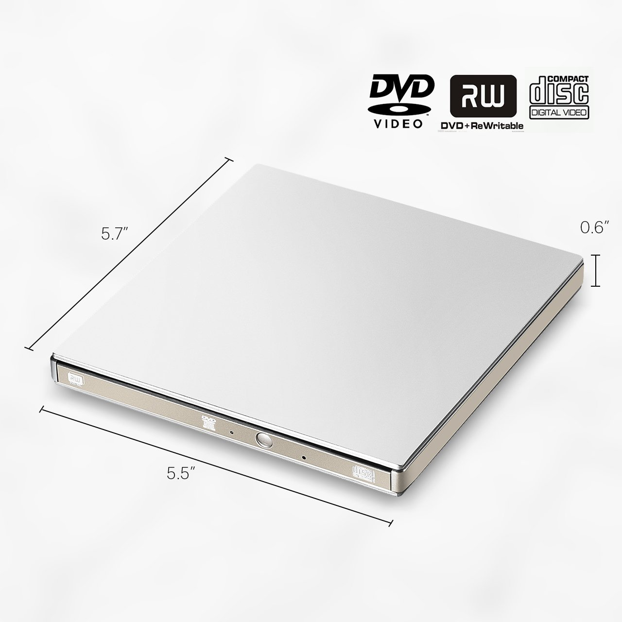 VicTsing External USB 3.0 CD DVD Drive, Ultra Slim Optical DVD Drive CD-RW Burner Write Drive for Apple MacBook Pro Air iMac and Other Non-apple Laptops Desktops Silvery by VicTsing (Image #2)