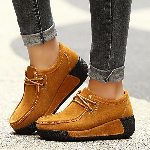 Z.SUO Women's Casual Comfortable Suede Loafers Wedge Thick Heel Pumps Shoes Yellow FYMrFq7nd