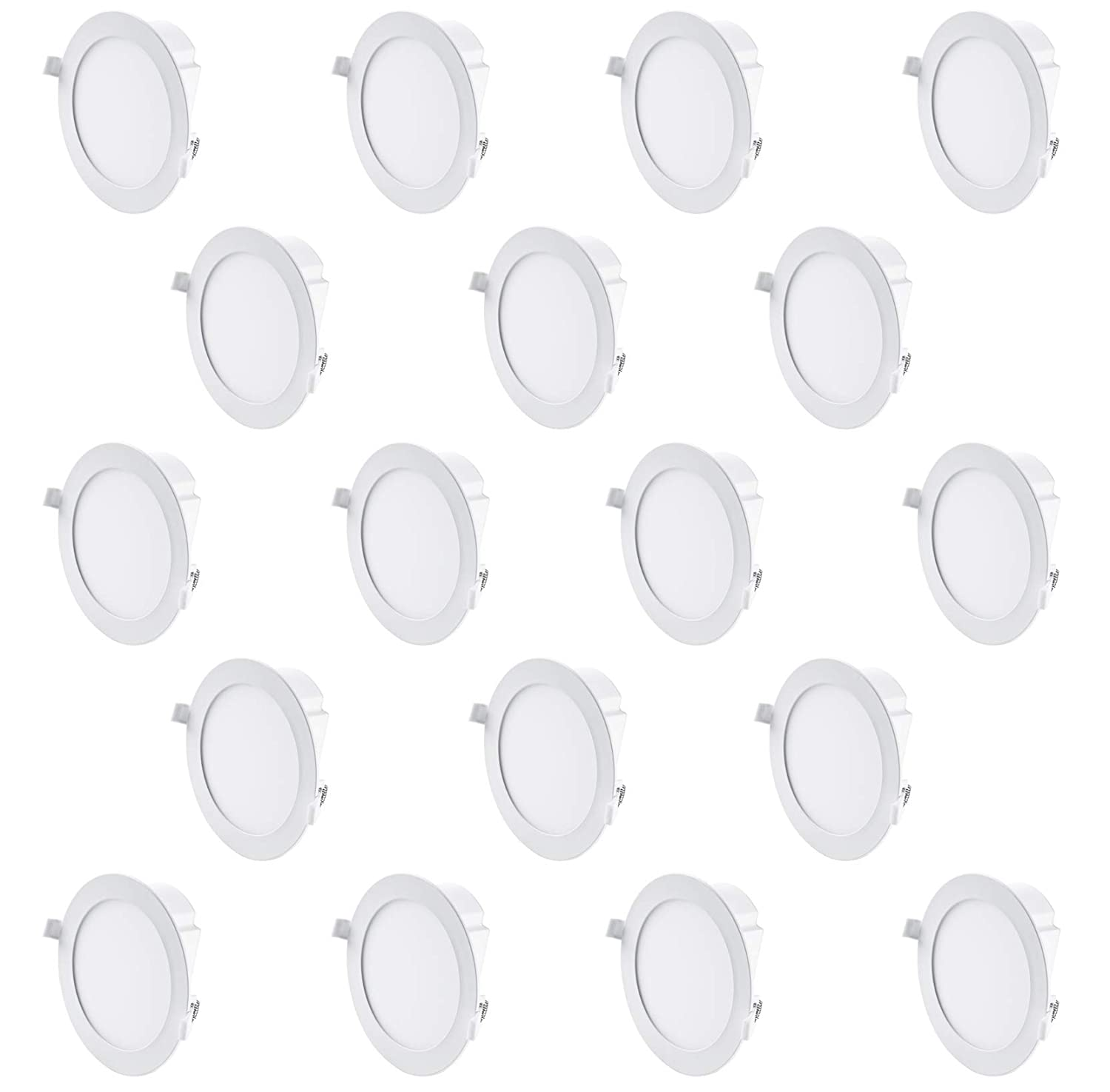 """Hyperikon 6"""" Recessed LED Downlight with Junction Box, Dimmable, 11.6W (65W Equiv.), Slim Retrofit Airtight Downlight, 5000K (Crystal White Glow), Energy Star, UL - for Dry/Damp Locations (18 Pack)"""