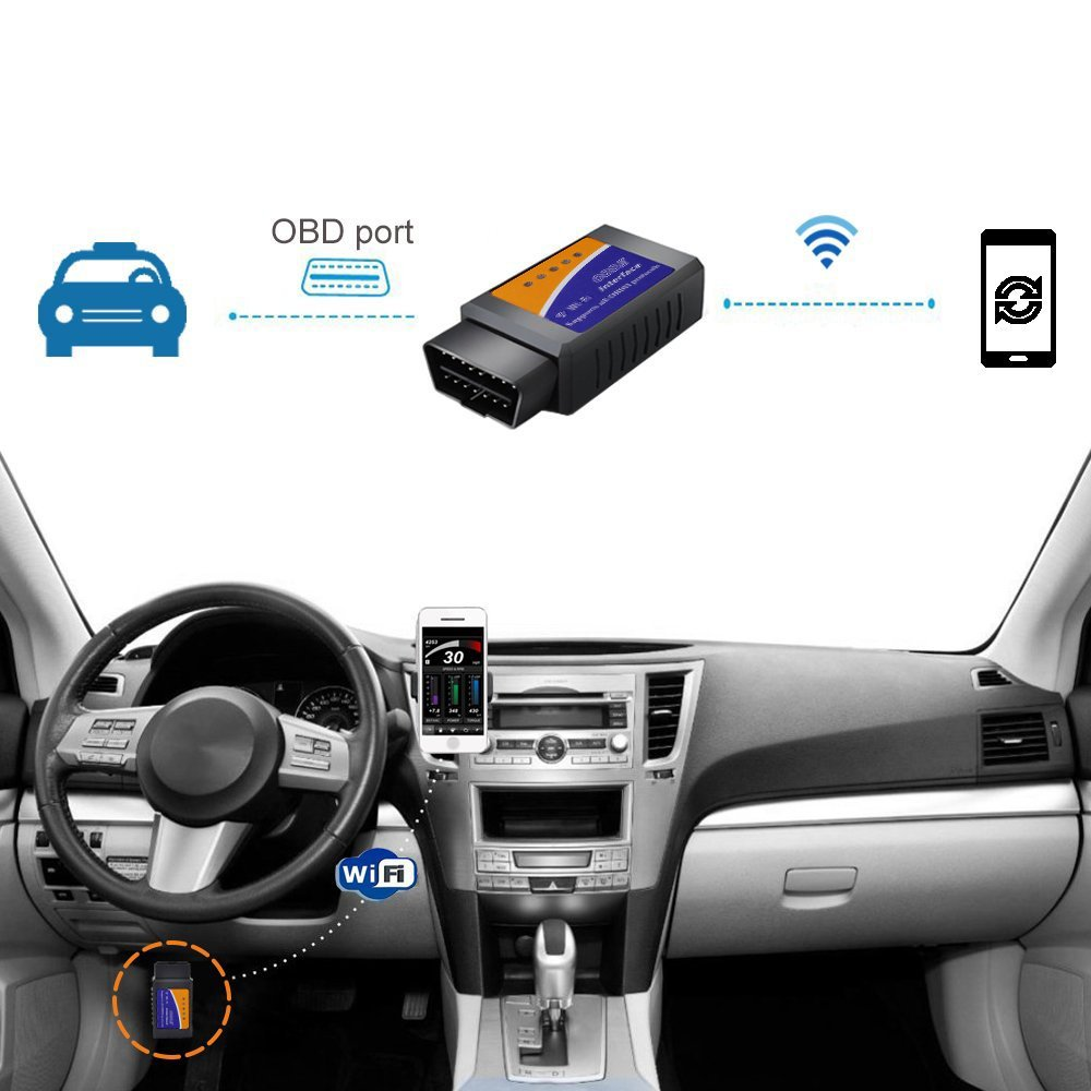 Mercedes Benz Hovinso OBD2 WIFI Interface Lettore Diagnosi Per Auto Italiano Strumenti diagnostici per motore OBD-II Per BMW Supporto IOS /& Android /& Symbian /& Windows VW Ford Audi
