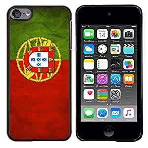 KLONGSHOP // Cubierta de piel con cierre a presión Shell trasero duro de goma Protección Caso - Nacional bandera de la nación País Portugal - Apple iPod Touch 6 6th Touch6 //