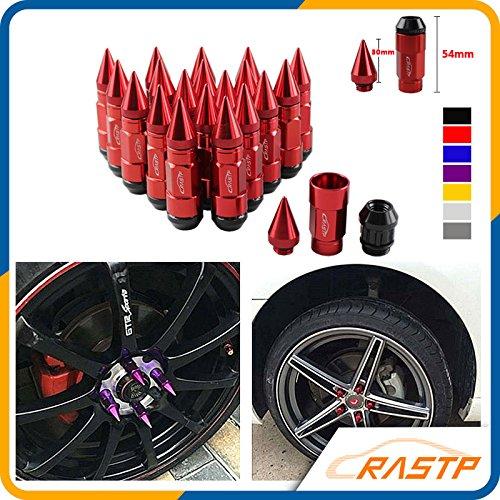 RASTP Anti Theft Racing Car Tires Spike Lug Nuts,JDM Sytle Anodized Universal Wheel Lug Nuts M12x1.25mm RS-LN043 1.25, gold