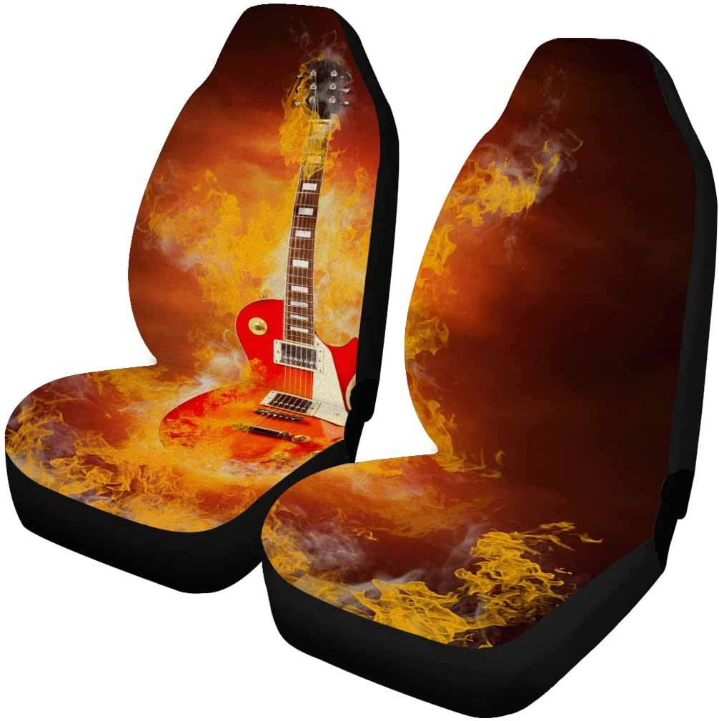 2 Pcs Rock Guitar Fire INTERESTPRINT Each Piece with Different Printing Car Seat Covers