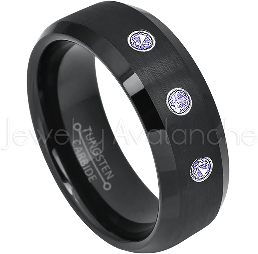 April Birthstone Ring 8mm Matte Finish Black Ion Plated Comfort Fit Titanium Wedding Ring 0.21ctw Diamond 3-Stone Band