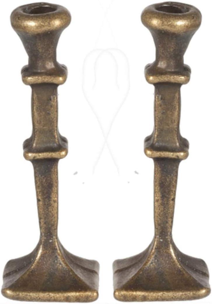 "Dollhouse Miniature Brass Candle Sticks Square Base 1"""