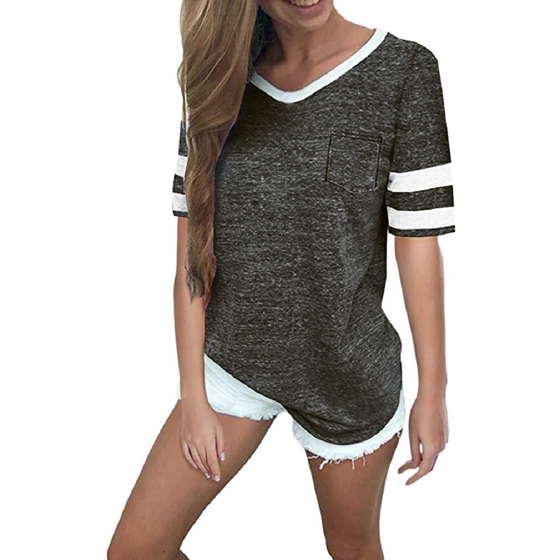 Women Summer Casual Short Sleeve V Neck T Shirt Striped Print Baseball T-Shirt Blouse Tops by Lowprofile Dark Gray