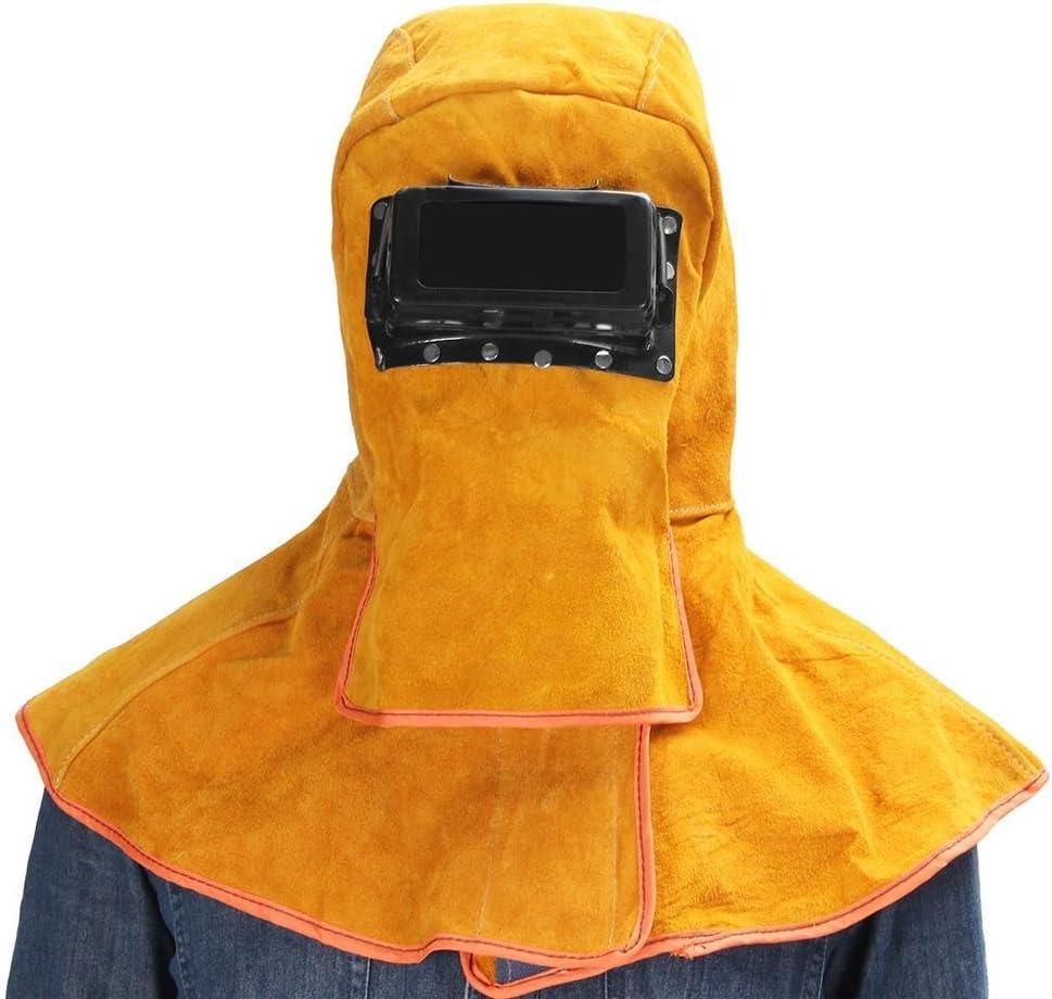 Jannyshop Pantalla Soldadura Automático Máscara de Soldadores Amarillo Material de Piel de Vaca Prueba de Calor