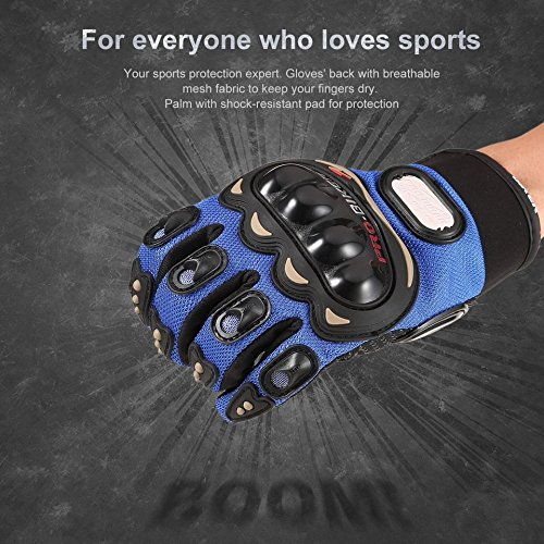 PRO Biker Full Finger Motorcycle Gloves with Touch Screen Design Outdoor Riding Gloves Knight Moto Motorbike Racing Gloves(Color:Black&Blue)(Size:XL)