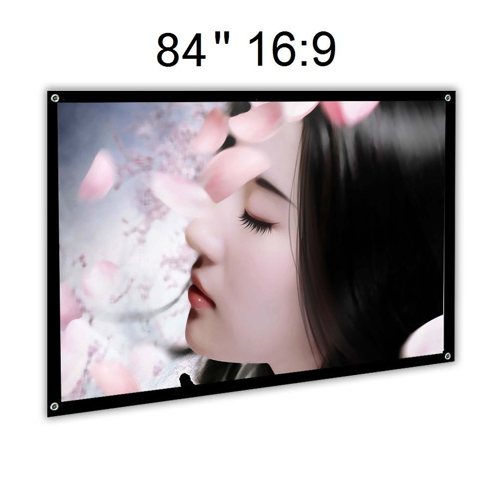 Ezapor 100 inch 16:9 Portable Projection Screen Home Cinema PVC Fabric 3.3 lbs Only