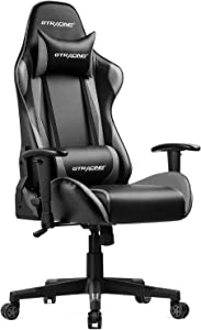 GTRACING Gaming Chair Racing Office Computer Game Chair Ergonomic Backrest and Seat Height Adjustment Recliner Swivel Rocker with Headrest and Lumbar Pillow E-Sports Chair Gray