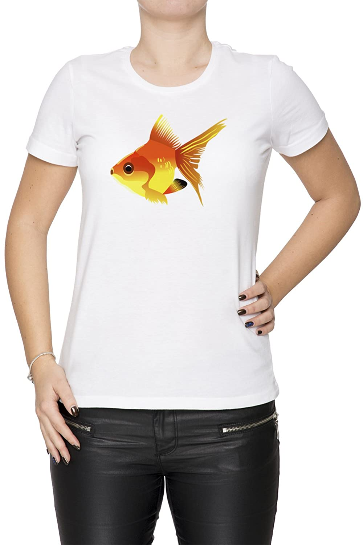Fisch Wei Baumwolle Damen T-Shirt Rundhals Kurzarm White Women's T-shirt