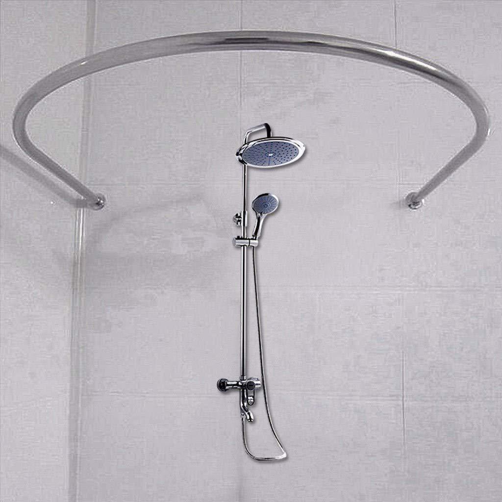 Anti-rust Ideal for Shower and Windows,80/×80/×80cm Decorative Curved Bath Curtain Rail Bar wall mounted Y-only Bathroom U Shaped Corner Shower Curtain Rod Pole