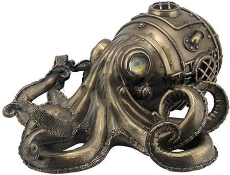 "Nautical Steampunk Octopus 4/"" Round Trinket Box Statue Bronze Finish"