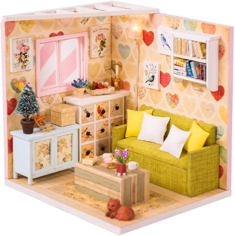 Miniature Joy DIY Miniature Dollhouse Kit with Lighting - Small Room Building Kit - Includes Tools Dust Cover Music Box - Build Miniature Dollhouse Furniture and Mini House - Craft Kits for Adults