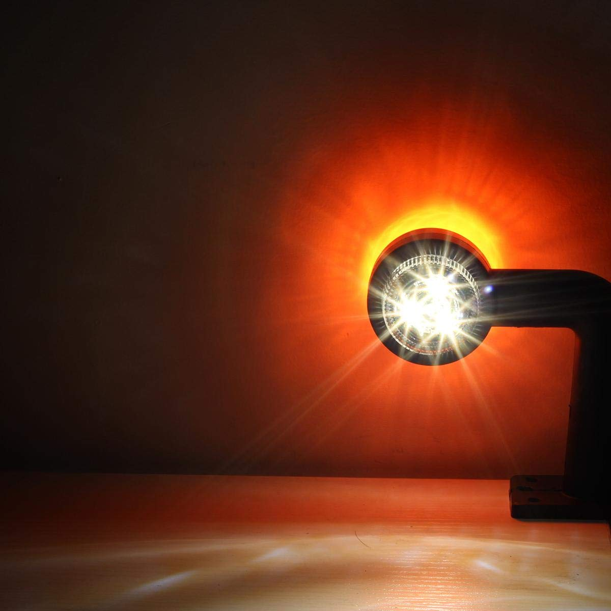 PARTSAM 2X LED Begrenzungsleuchten Umrissleuchte rot-wei/ß Seitenleuchten f/ür Auto LKW PKW TRAILER Anh/änger 90/° Gebogen seitlicher Anbau links//recht 6 LED 12V-24V
