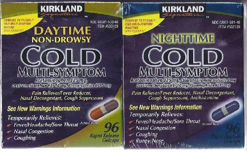 Kirkland Signature Day/Night Time Cold Multisymptom Relief Rapid Release Gelcaps, 2/96 ct