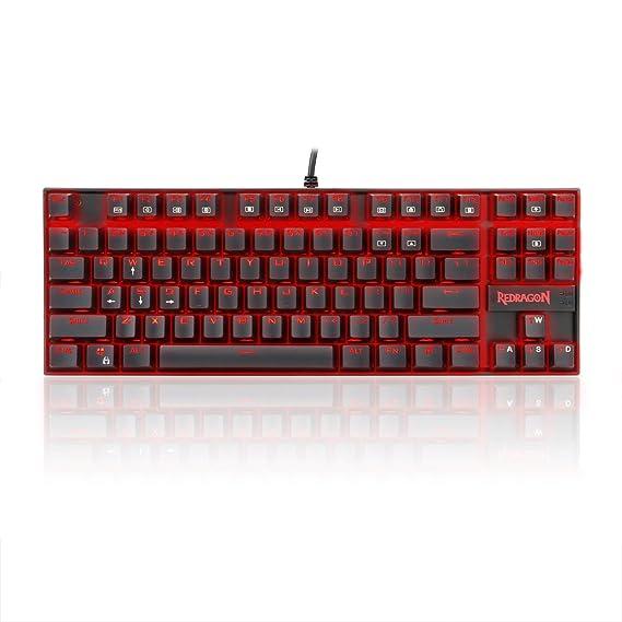 Redragon Teclado para Juegos Mecánico Rojo Iluminado K552 KUMARA 87 Teclas Teclado Mecánico con Interruptores Azules para PC Diseño Compacto para Juegos ...