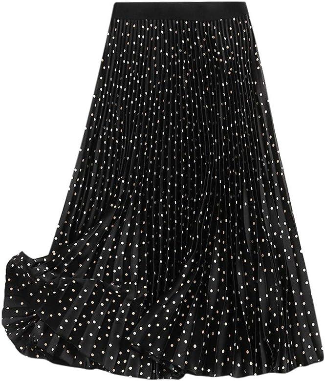 PARVAL Mujeres Falda Plisada Dot para Mujer Falda Larga Boho Maxi ...