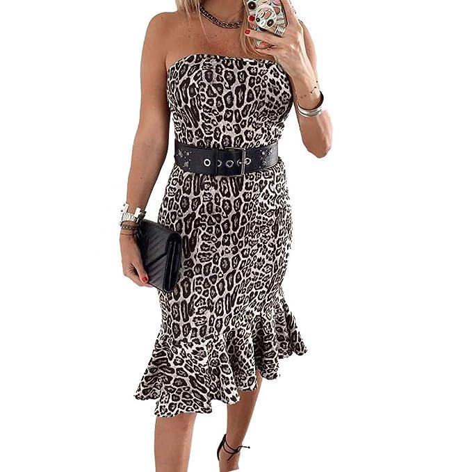 4c78a6b862 Vestido Mujer Fiesta Vestido de Volante con Estampado de Leopardo y  Estampado de Leopardo de Moda para Mujer Vestido Sexy con Correa Sonnena   Amazon.es  ...