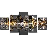 Nocturno Cuadros Decorativos Conjunto de 5 Paneles Alta definición Lona para Sala de conferencias- Pintura Moderna División Mural,10 * 15CM*2+10 * 20CM*2+10 * 25CM*1