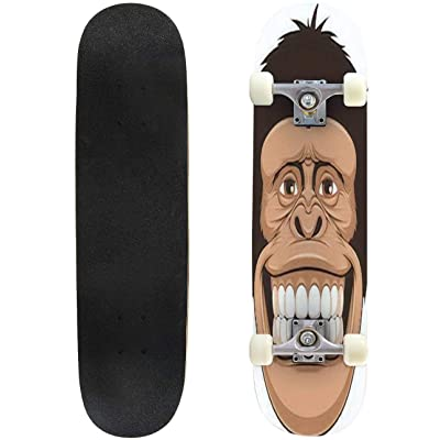 Classic Concave Skateboard Vector Illustration of Cheerful Monkeys Longboard Maple Deck Extreme Sports and Outdoors Double Kick Trick for Beginners and Professionals : Sports & Outdoors