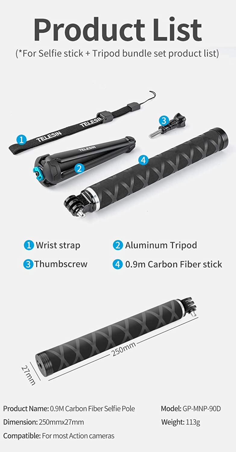 TELESIN Ultralight Carbon Fiber Selfie Stick with Tripod Stand//Extendable Monopod,Compatible for GoPro Hero//DJI OSMO Action//Insta360//AKASO and Other Action Cameras
