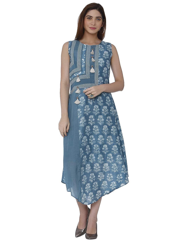 bluee100218 Raisin Womens Kurta Indian Kurtis for Women Casual Tunic Kurti Tops Long Dress
