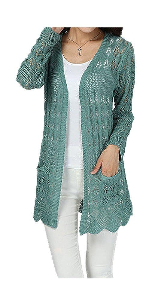 ARJOSA Womens Crochet Knitted Pockets Open Front Cardigan Sweaters Tops