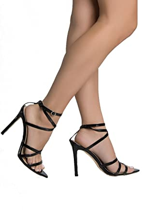 d2793a0361262 AZALEA WANG Spatent Strappy Pointed Toe Buckle Closure Stiletto Heeled  Sandals-BLACK PATENT_6