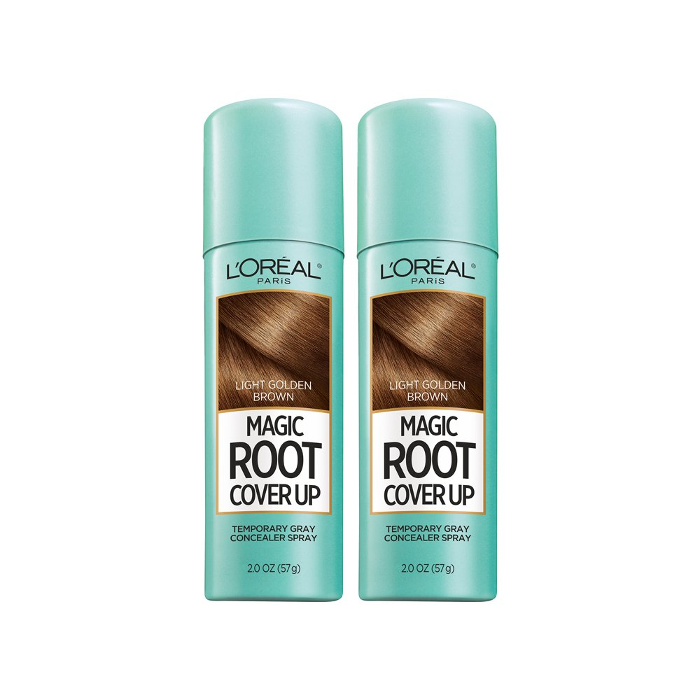 L'Oreal Paris Hair Color Root Cover Up Temporary Gray Concealer Spray Light Golden Brown (Pack of 2) (Packaging May Vary) by L'Oreal Paris