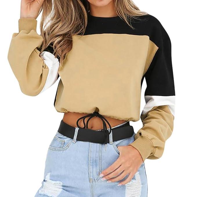 DEELIN Tendencias De La Moda De Las Mujeres Manga Larga Colorblock Sudadera Pullover Sports Sweatshirt (