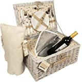 Luxury 2 Person Wicker Chiller Picnic Hamper Basket Easy Carry Handle With Cooler Compartment and Bottle Cooler Bag